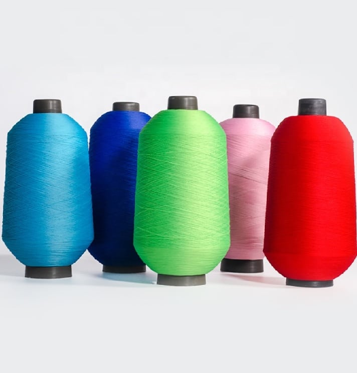 High Stretch Filament Yarn Cone Dyed Polyester Yarn for Socks Uppers Knitting 75D 2 Polyester High Elastic Yarn